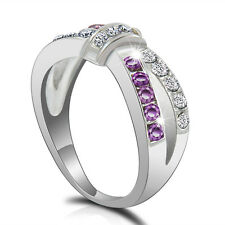 Cross Ring Purple Amethyst CZ Criss Band Black Gold Filled Jewelry Size 6-10 CHI