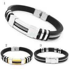 Men Punk Silicone Stainless Steel Men's Bracelet Cuff Wristband Bangle Bracelet