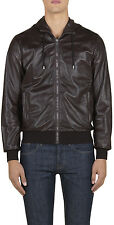 Gucci Men's Brown Nappa Leather Hooded Bomber Jacket