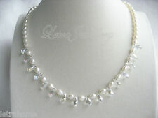 """19"""" 6-7mm AAA Drop Cultured Freshwater Pearl Clear Stone Necklace Gift Present"""