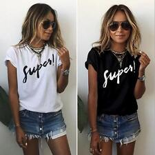Summer Women Casual Short Sleeve Loose T-shirt Letter Print Graphic Tee Top L126