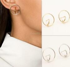Gold Silver Round Circle Front Back Cuff Ear Jacket Stud Earrings Jewelry Punk