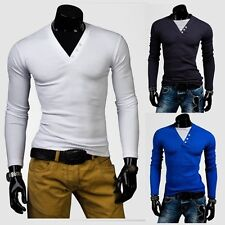 White V collar shirt Men's round neck long sleeved Fake two pieces fit T-shirts