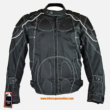 MEN'S MOTORCYCLE STYLISH TEXTILE JACKET WITH ARMORS REFLECTIVE PIPING ZIP OUT