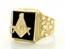 10k / 14k Solid Gold Onyx Masonic Diamond Cut Mens Ring