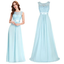 Chiffon Light Blue Cocktail Prom Evening Ball Bridesmaid Dress Long Formal Gowns