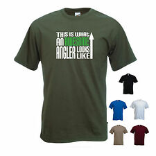 'This is what an Awesome Angler looks like' Fishing Angling Funny Tshirt Tee