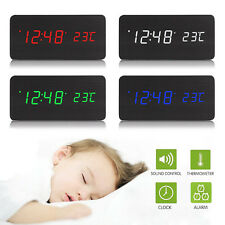 Electronic Digital LED Alarm Clock Sounds Control Temperature Wooden Desktop