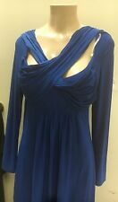 dark Blue FF1 L/s  CROSSOVER Faux Wrap Dress Tie Knee Length Sexy new women l s