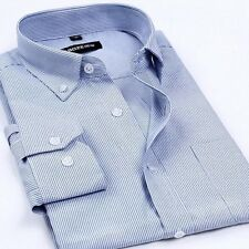 Mens Striped Oxford Shirt Non-iron Business Long Sleeve Casual Dress Shirt 38-44