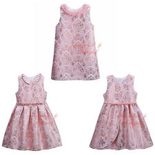 Fashion Girl Dress Flowers Pearls Toddler Princess Birthday Wedding Bridesmaid