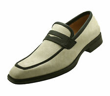 NEW Men's Leather Beige White Shoes Slip On Dress Loafers Wedding Tuxedo Formal