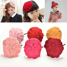 1 Pcs Cute Flower Head Band With Woolen Hat Girls Hair Accessories 6 Colors
