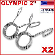 """2 X Olympic 2"""" Spring Collar Weight Bars Clips Dumbbell Barbell Clamp Bar Gym"""