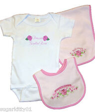 Personalized Baby Girl Onez Bib & Burp I Love Daddy-Pink Rose Design Free Ship