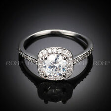 Women 18K White Gold Plated Cut Crystal Wedding Engagement Ring Size 5 6 7 8 9
