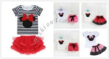 Baby Girl Kid Minnie Mouse Bow T-Shirt Top+Skirt Dress Outfit Set 12M-5T Clothes