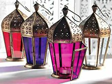 Moroccan Style Lantern Tea light Candle Holder Hexagon Purple Pink Clear or Red