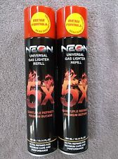 2 NEON 5X QUINTUPLE REFINED PREMIUM BUTANE AND UNIVERSAL GAS LIGHTER REFILL