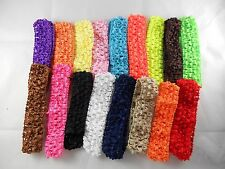 Wholesale 10 pcs Girls Baby Crochet Headband With 1 inch Acrylic choose color.