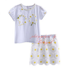 Fashion Toddler Girls White T-shirt + Flower Skirts Kids Summer Clothing Outfits