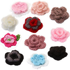 10 xHandmade Crochet Flower Appliques Craft For Clothes Bags Sewing DIY 5 Colors