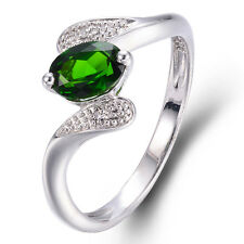 Natural Chrome Diopside & Zircon Solid 925 Sterling Silver Ring Fine Jewelry