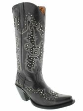 Womens tall black leather cowboy boots studded riding pull on western wear snip