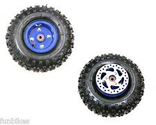 Mini Moto Quad Bike Blue Complete Wheel Tyre Inner Tube Hub Brake Disc 4.10-4