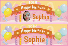 2 personalised birthday banner party boys girls balloon-any name ages.photos r5