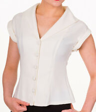 Banned Apparel 50s Rockabilly Vintage Blouse Shirt Button Top Pinup OFF WHITE
