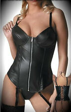 Faux Leather Overbust Halter Corset Bustier Zipper Front Waist Shapewear Top