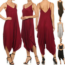 USA Women Solid Stretch Long Spaghetti String Harem Jumpsuit Romper Summer Pants