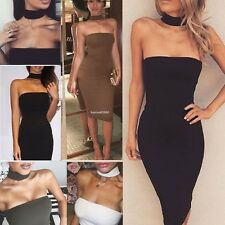 Women Fashion Sexy Strapless Sleeveless Solid Bodycon Party Club Wear Mini Dress