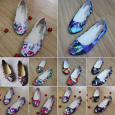 Womens Floral Print Flat Ballerina Pumps Ballet Casual Shoes Sandals Size 5.5-10