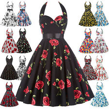 Plus Size Womens 50s 60s Vintage Retro Swing Pinup Housewife Party Evening Dress