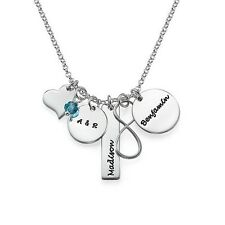 Infinity Necklace with Engraved Charms and Birthstone-Gift for her