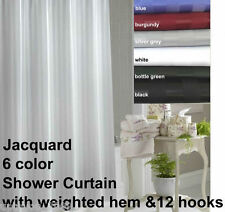 Shower curtain -  Jacquard Stripe - 180x180cm weighted with 12 hooks - BRAND NEW