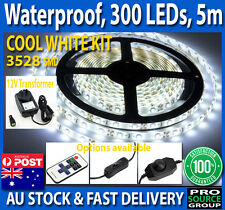 5M Strip Light KIT Cool White Waterproof 3528 300 SMD LED 12V 2A Adapter Home