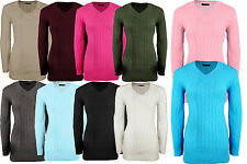 New Womens Ladies V Neck Long Dress Chunky Knitted Jumpers Pullover Sweater Top