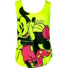 Disney Womens Fashion Tank Top Mickey Minnie Mouse Forever Neon Yellow