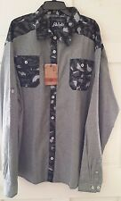 Mens Shirt Gray Akademiks Camouflage Buttoned Pockets Roll Up Sleeves NWT 4XL