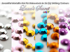 Hot Fix Iron On Metallic Rhinestuds (Available in 11 Colours & 2 Sizes) 3 or 4mm