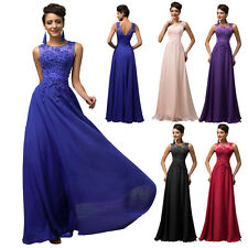 Beaded Plus 2~24W Applique Long Prom Bridesmaid Wedding Party Dress Evening Gown