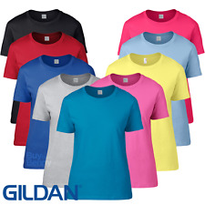 Gildan LADIES T-SHIRT SEMI FITTED TOP COMFORT PREMIUM COTTON BASIC TEE S-2XL NEW