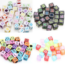 Hot Sale 50/100X Mixed Colors Creative Cube Acrylic Letter/Alphabet Bead 5x5x5MM
