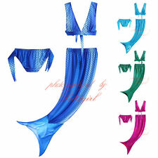 Kids Girls Mermaid Tail Swimmable Bikini Set Swimwear Swimsuit Swimming Costumes