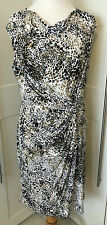 GORGEOUS LADIES WHITE AND BROWN LEOPARD PRINT ROUCHED OFFICE DRESS IN SIZE 18