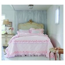 SIMPLY SHABBY CHIC PETTICOAT PINK PRINTED RUFFLED BED QUILT KING FULL QUEEN TWIN