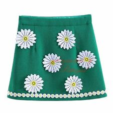 Fashion Baby Girl Green Embroidery Flower Skirts Children Summer Floral Clothes